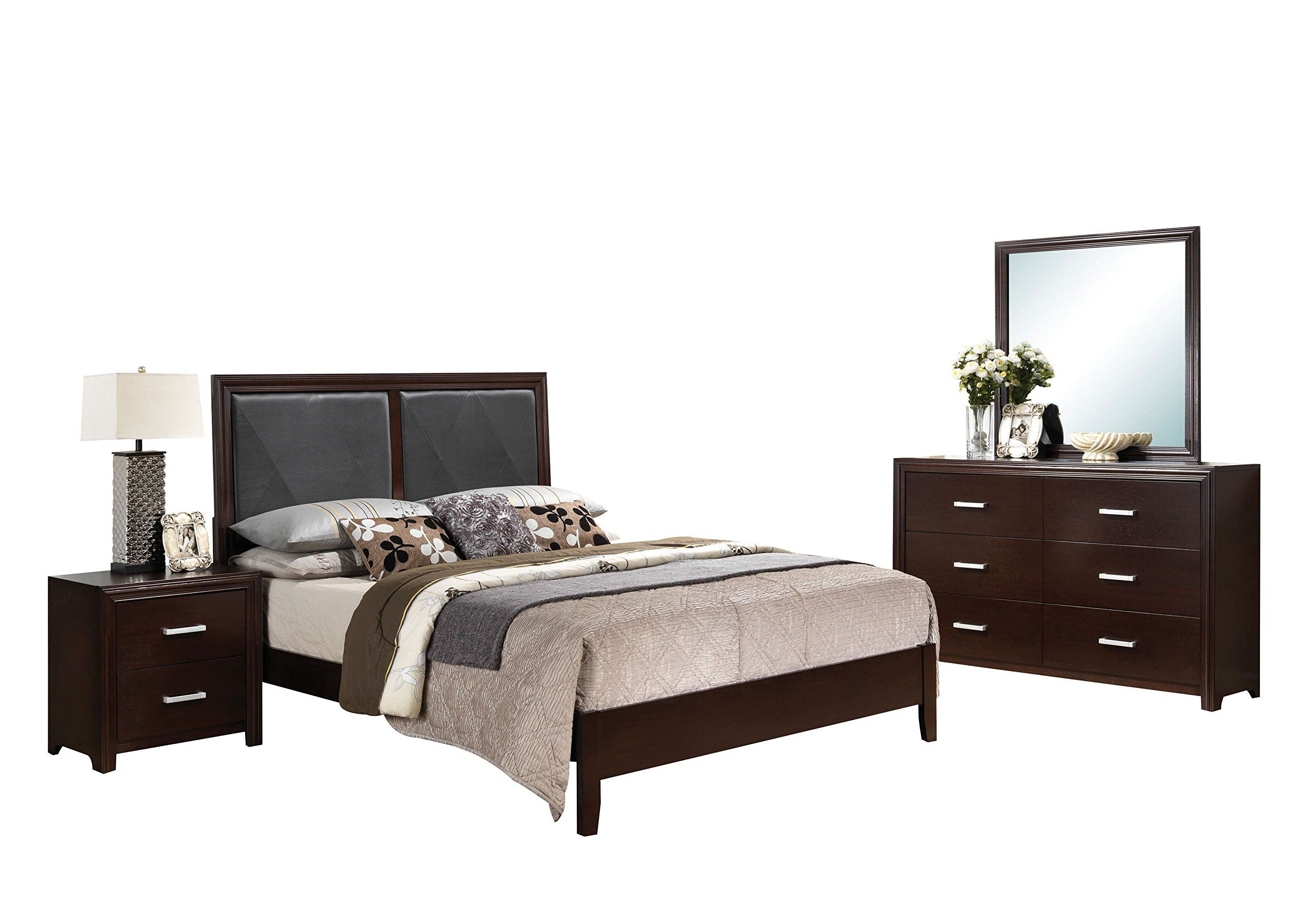 acme furniture ajay california king 4piece bedroom set black pu