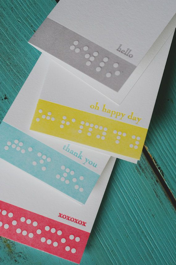 Colorful Braille Letterpress Notecards By 4thyear On Etsy Letterpress Notecards Note Cards Letterpress