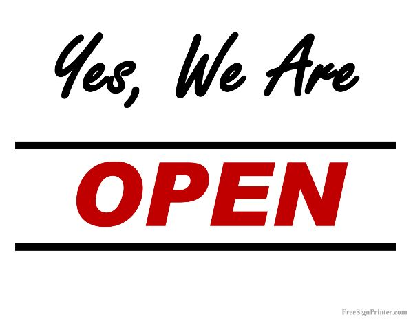 Printable We Are Open Sign Print Signs