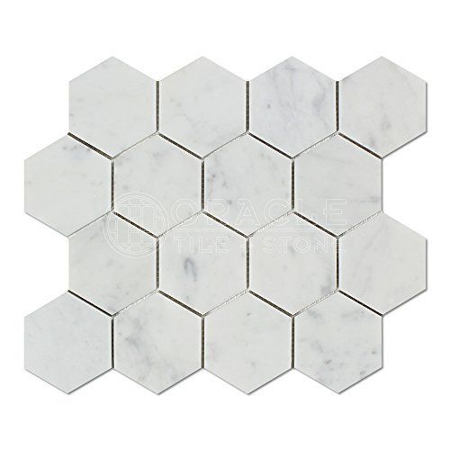 Beautiful Carrara White Italian Carrera Marble Hexagon Mosaic Tile 2 inch Honed Amazon Review - black mosaic tile Unique
