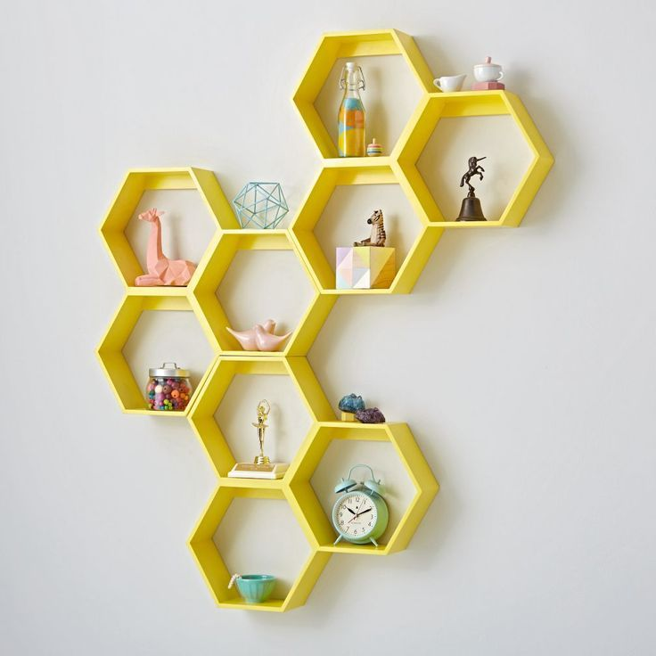 Honeycomb Yellow Hexagon Shelf | Crate and Barrel