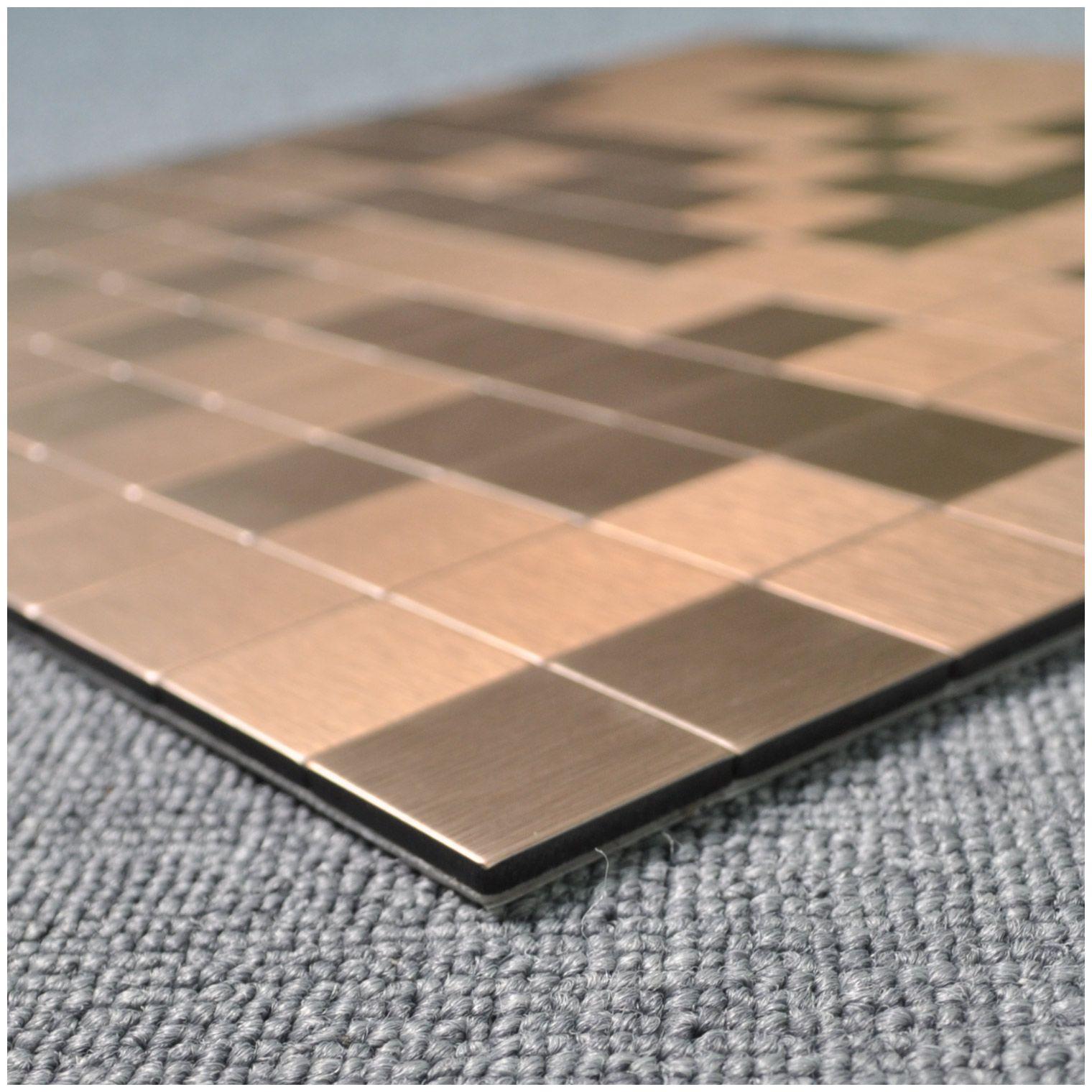 - Peel & Stick Metal Tiles For Kitchen Backsplashes, Copper Brushed