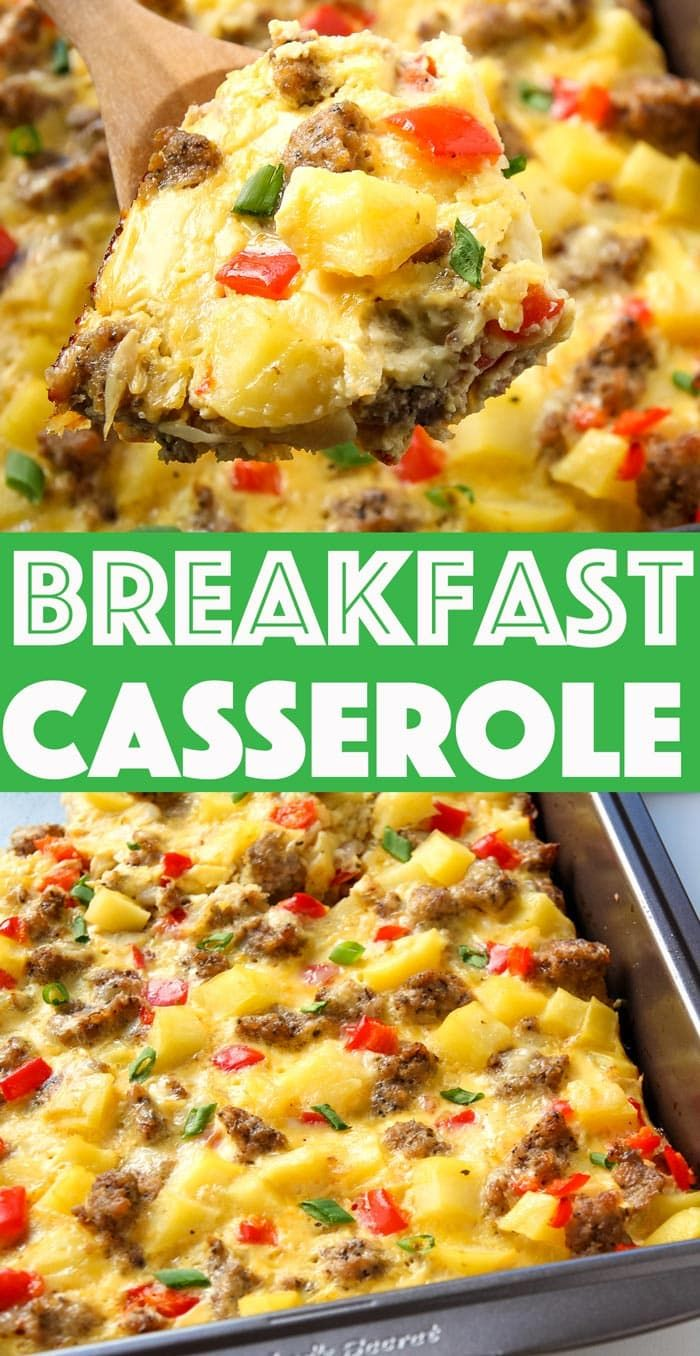 Breakfast Casserole with Eggs, Potatoes and Sausag
