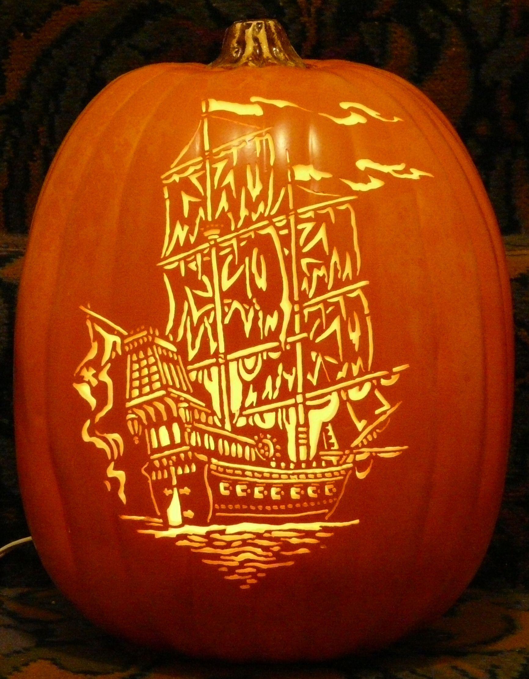 Ship scroll saw pattern I carved on a foam pumpkin