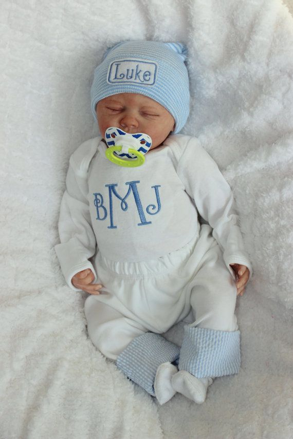 71f3895b732 Baby Boy Coming Home Outfit. Newborn Boy Clothes. Monogram Bodysuit ...