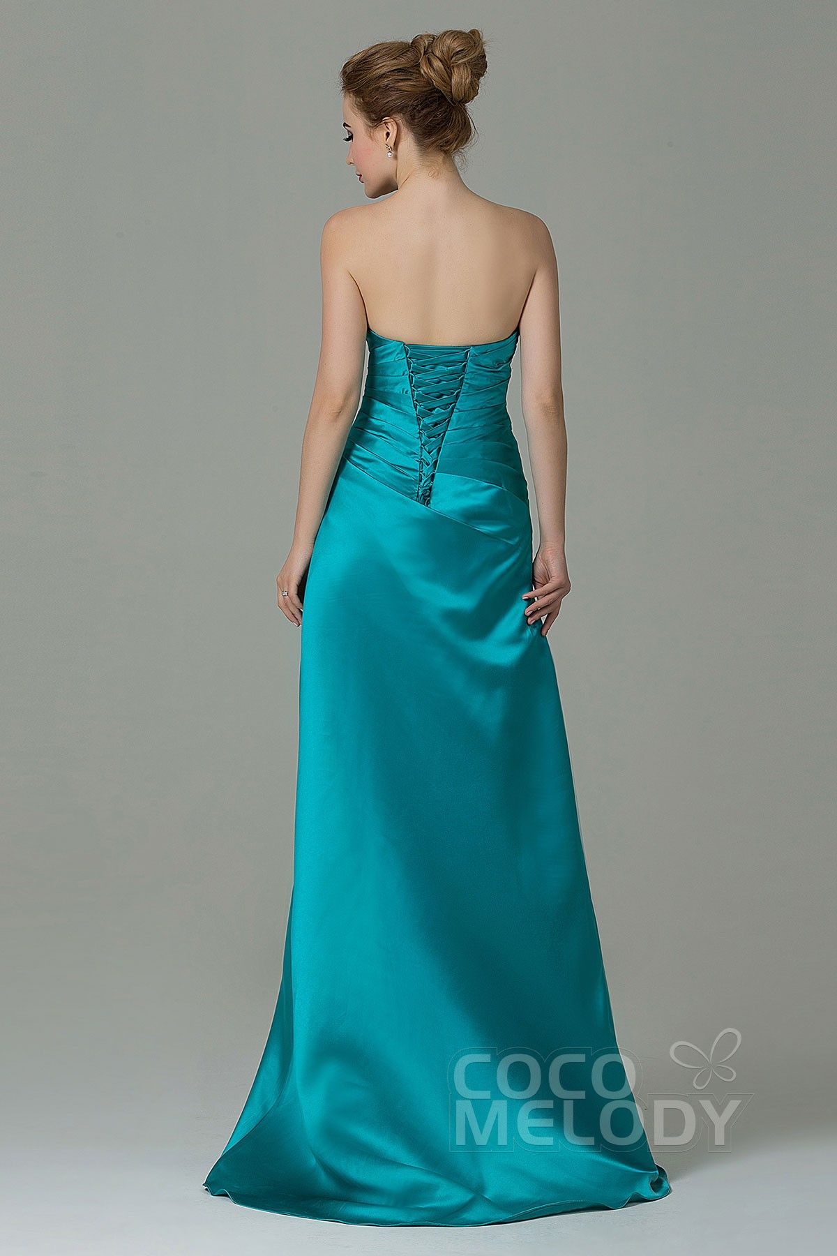 Queenly sheath column strapless natural floor length satin queenly sheath column strapless natural floor length satin blue turquoise sleeveless lace up corset bridesmaid dress with pleating ombrellifo Image collections