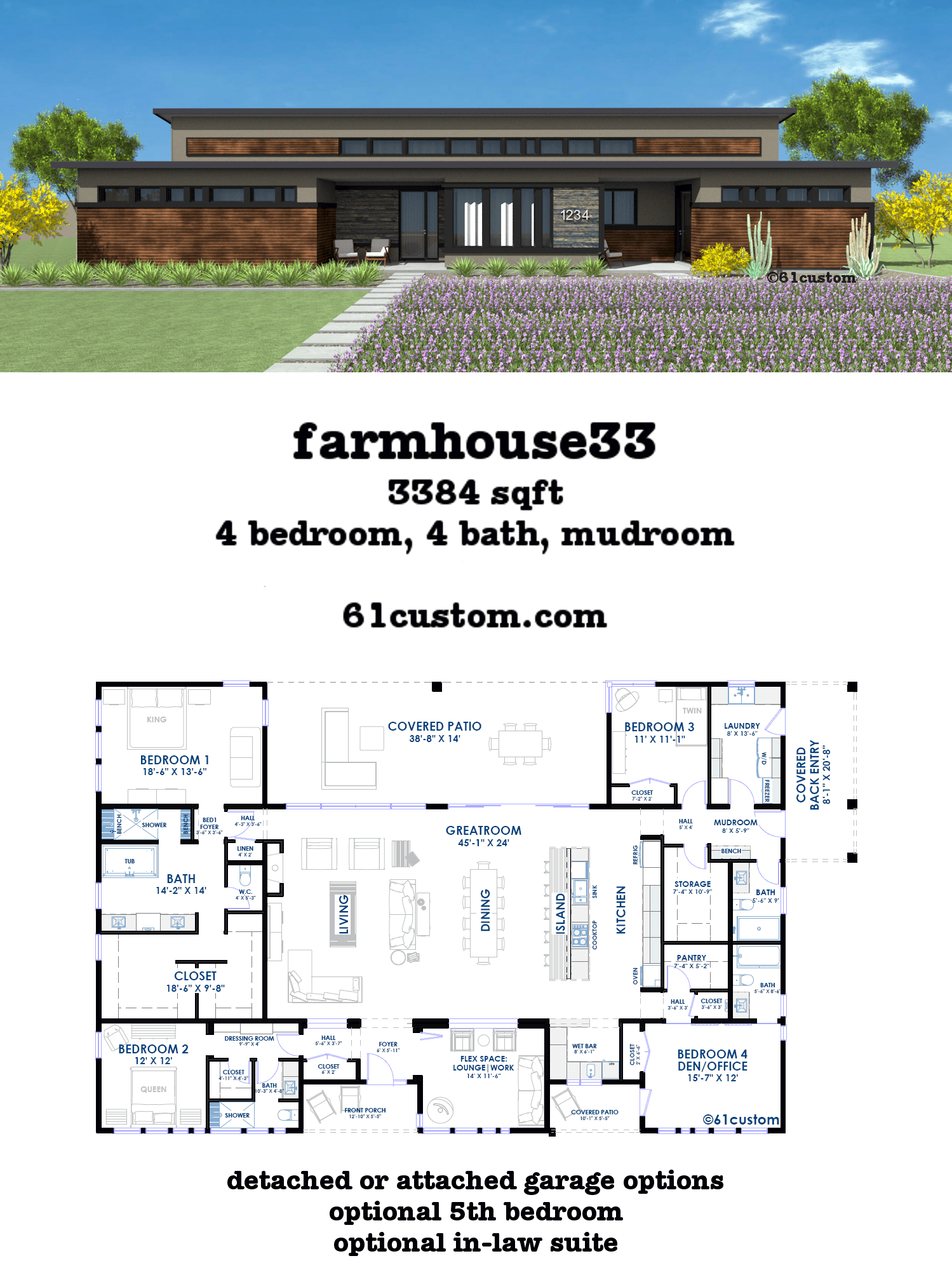 This modern farmhouse plan includes a huge loft style open concept greatroom four split bedrooms four baths flex space mudroom and huge laundry room