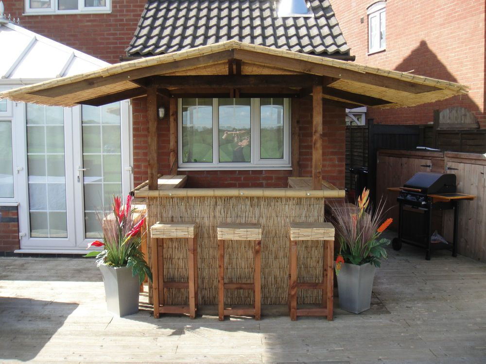 Details About Outdoor Bar Home Garden Bar Thatched Roof