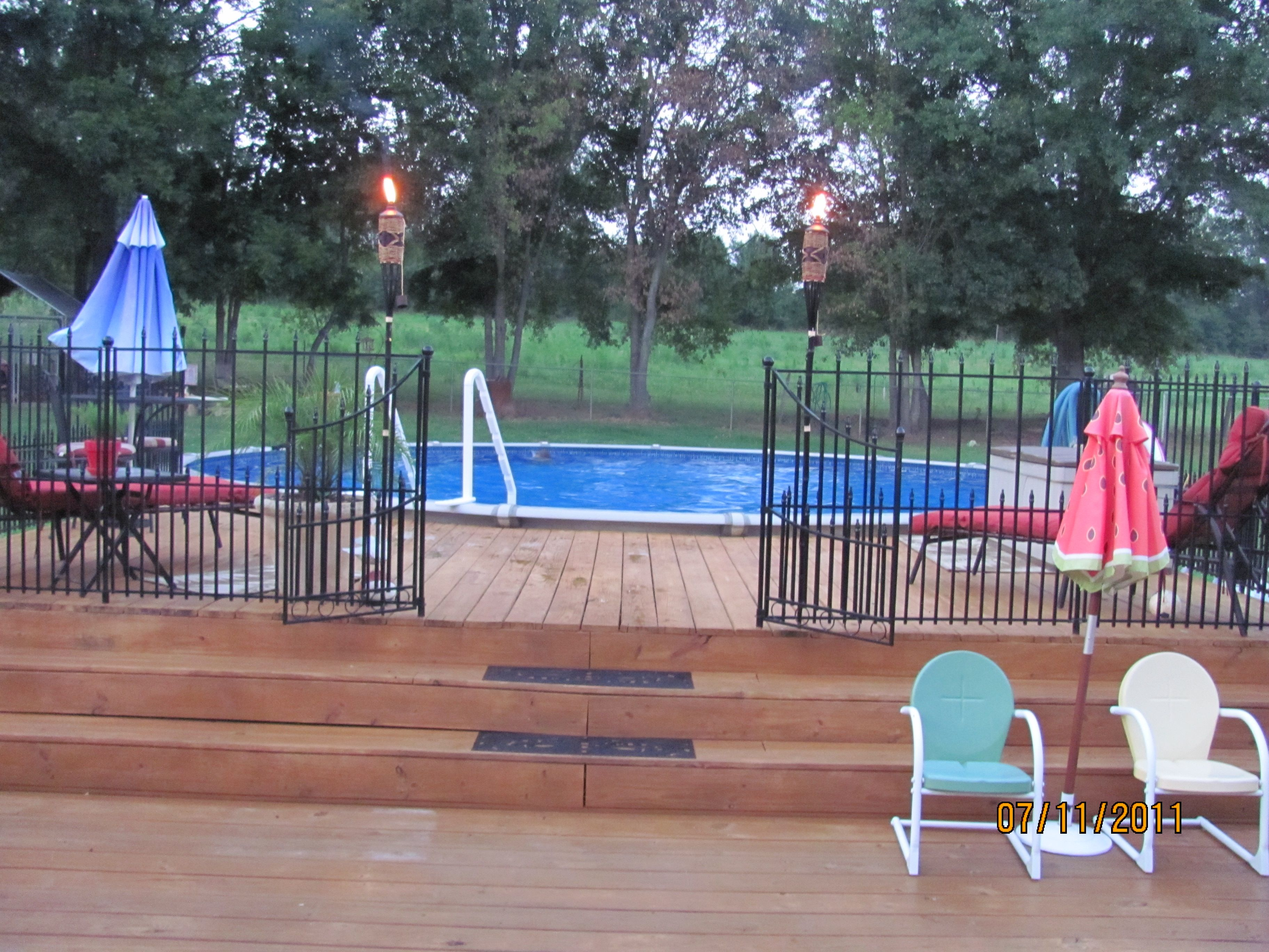our above ground pool with 3 decks For the Home
