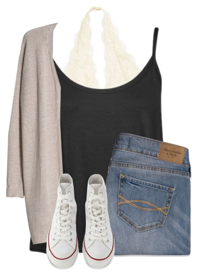"""Simple set"" by hailstails ❤ liked on Polyvore featuring Abercrombie & Fitch, MANGO and Converse"
