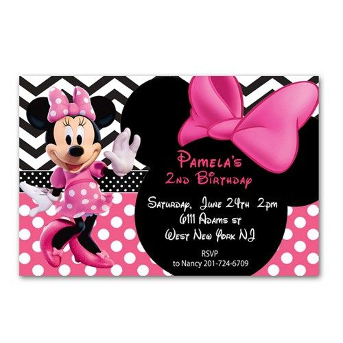 pink polka dot minnie mouse birthday invitations cards printable