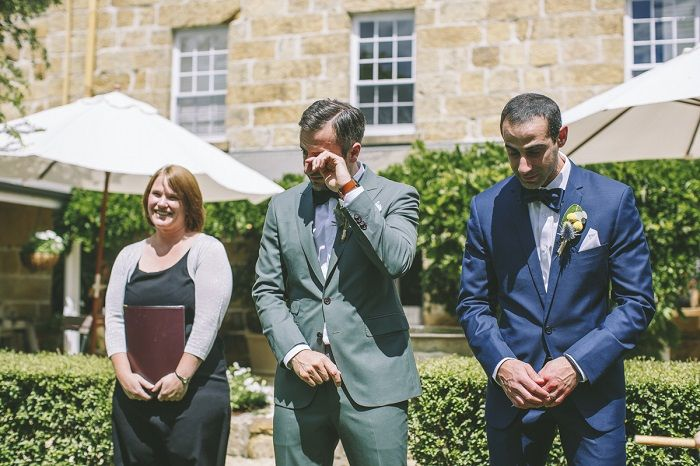 Groom can't control his tears as he sees his bride walk down the aisle | I take you #groom