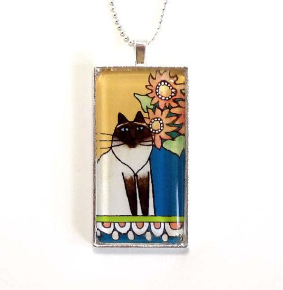 items similar to himalayan cat necklace seal point pet art jewelry in yellow by susan faye on etsy