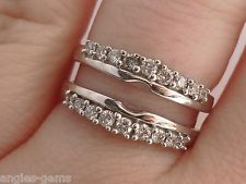 Zales 12CT Diamond Solitaire Double Row Enhancer Guard Band Ring