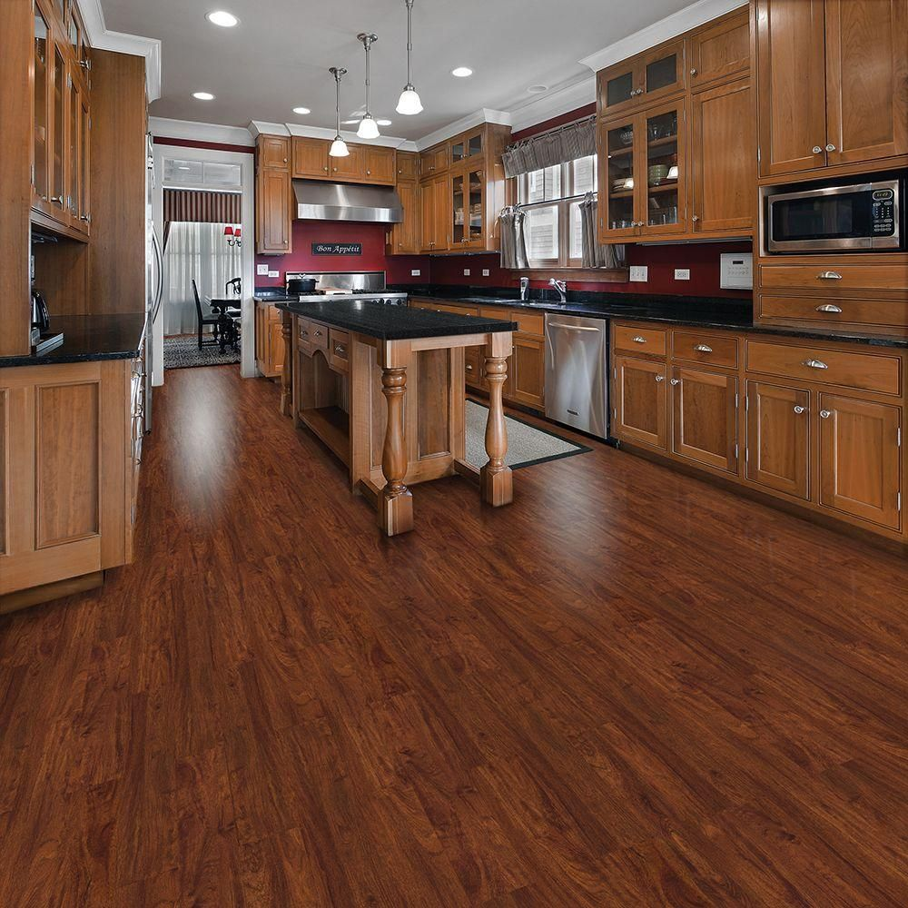 Trafficmaster allure 6 in x 36 in cherry luxury vinyl for Kitchen vinyl flooring
