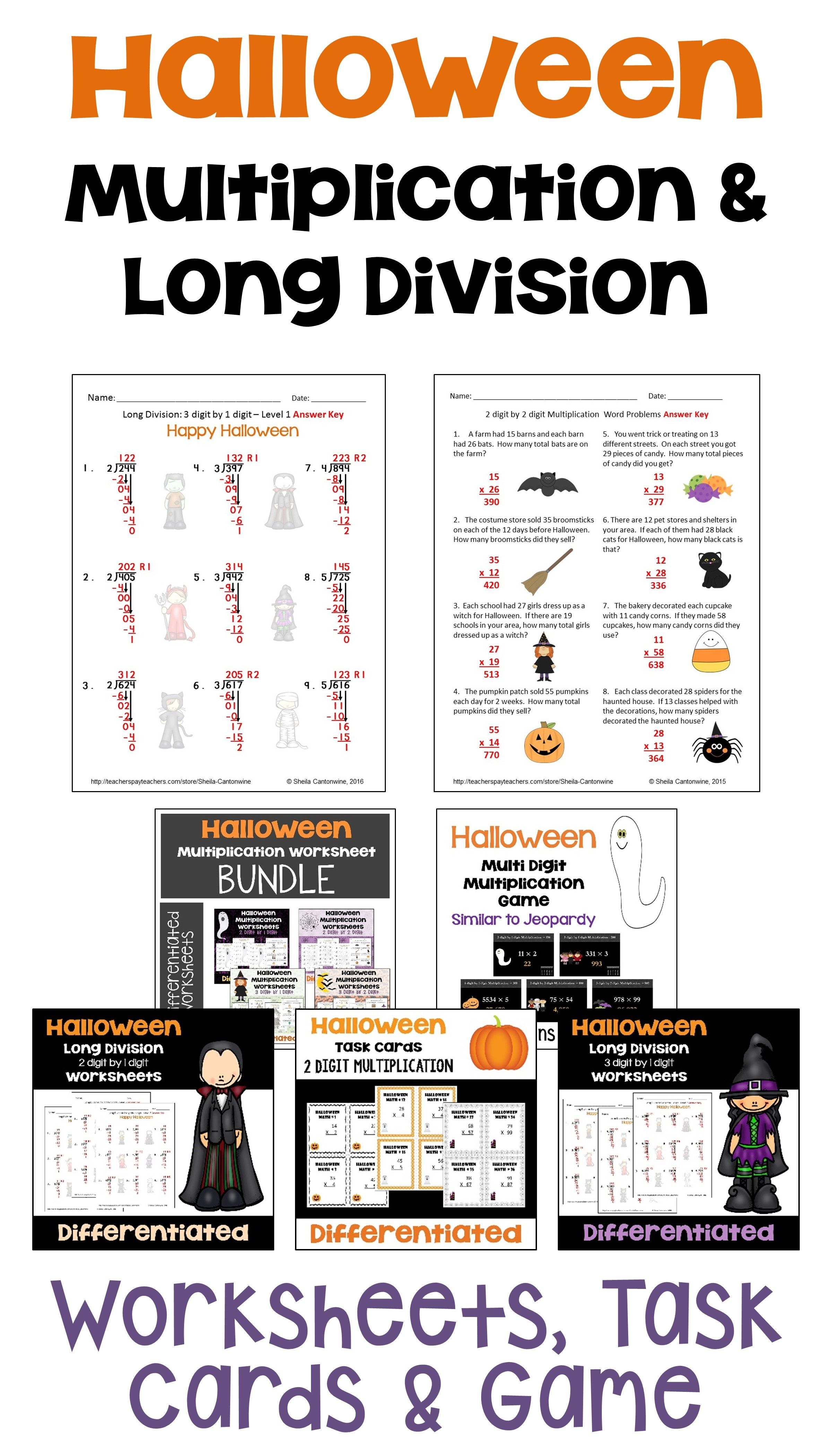 Halloween Math Multiplication And Long Division Bundle