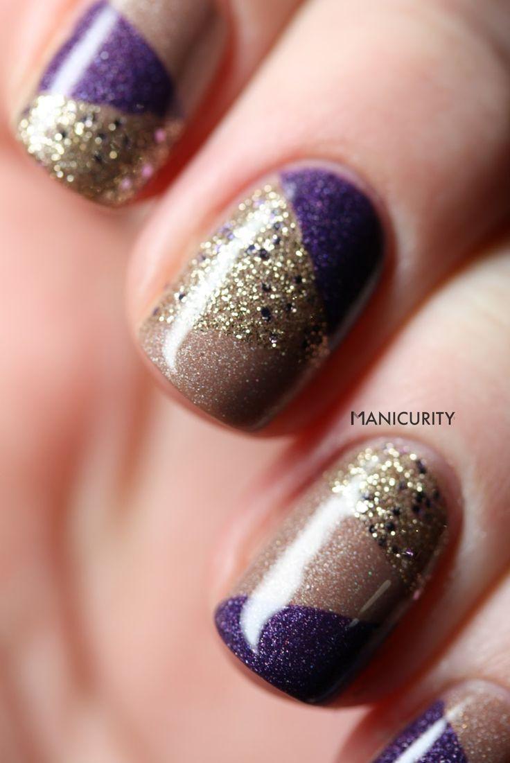 Nail Art Ideas purple and gold nail art : Manicurity: Patchwork: Purple & Gold & Glitter | Nail Art ...