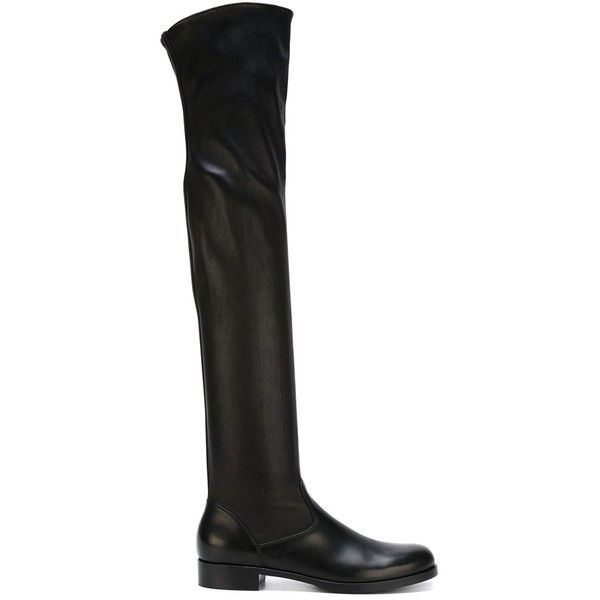 Gianvito Rossi Thigh-High Boots ($1,514) ❤ liked on Polyvore featuring shoes, boots, black, over the knee boots, black boots, over knee boots, black leather boots and black thigh high boots