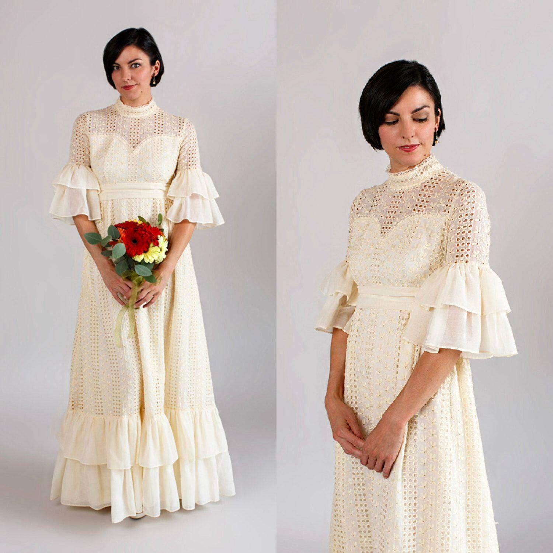 Vintage bohemian wedding dress  s Bohemian Wedding Dress  Vintage Eyelet Lace Wedding Dress by