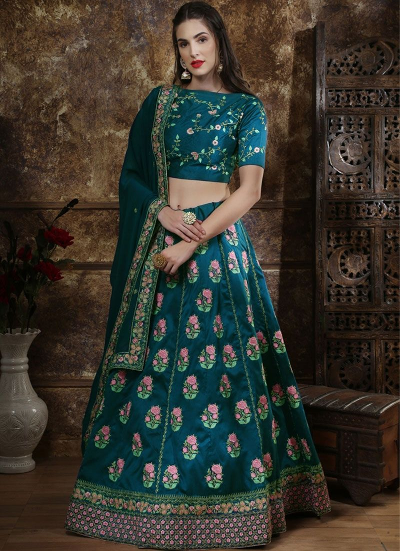 Teal Blue Color Thai Silk Lehenga Choli Designer Lehenga Choli Blue Lehenga Bridal Lehenga Online