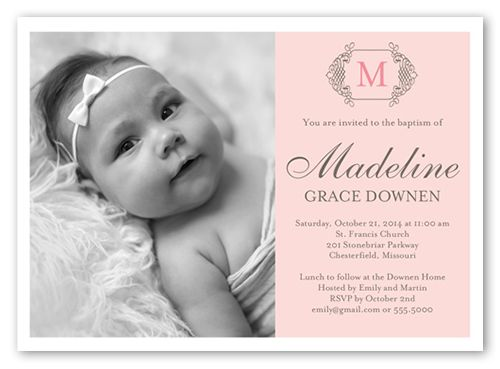 Baptism Invitations Vintage Monogram Girl, Square Corners, Pink - invitation for baptism girl