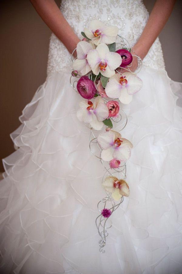 White Bridal Bouquet Cascading
