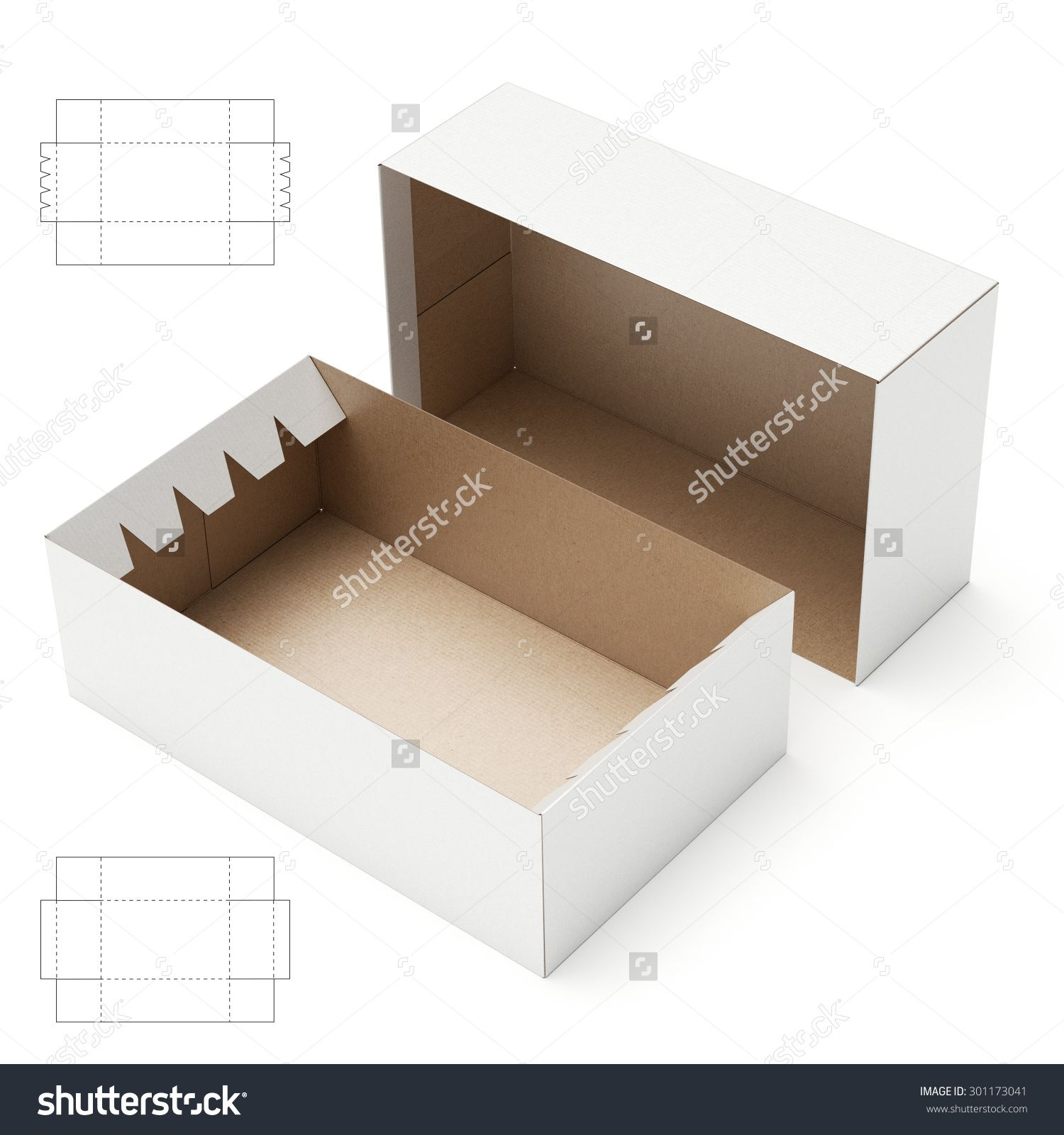 Storage Tray And Lid Box With Blueprint Template Stock
