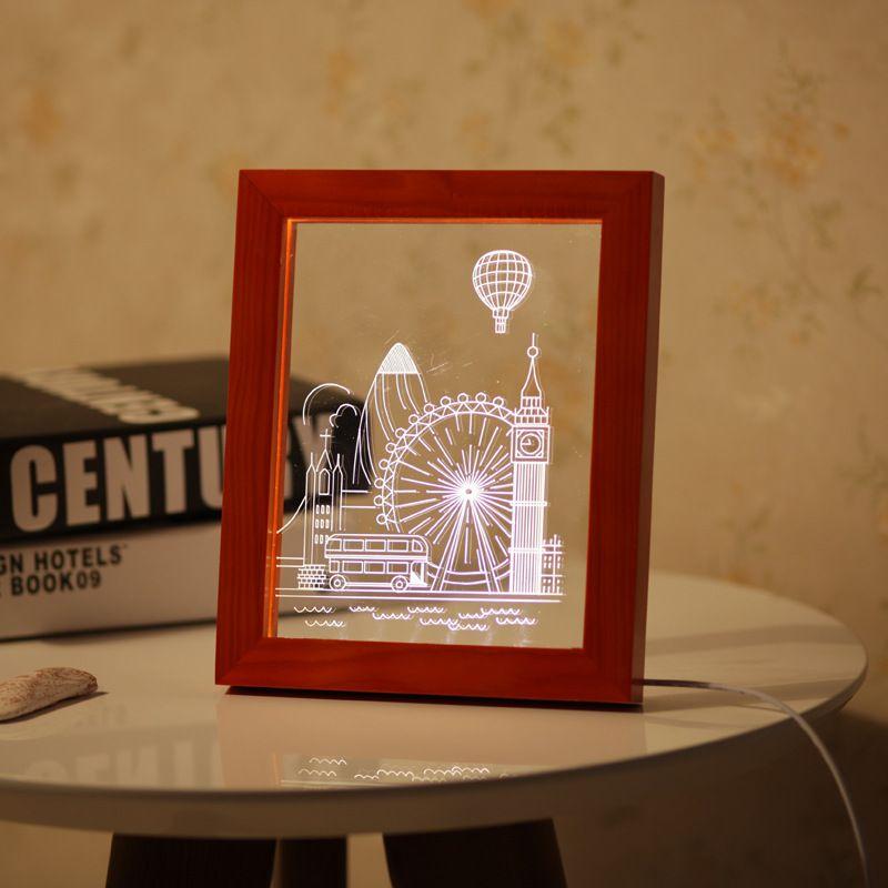 kcasa fl 732 3d photo frame illuminative led night light wooden ferris wheel desktop decorative