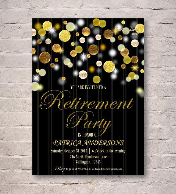 Gold Glitter Retirement Party Invitation DIY Printable Gold