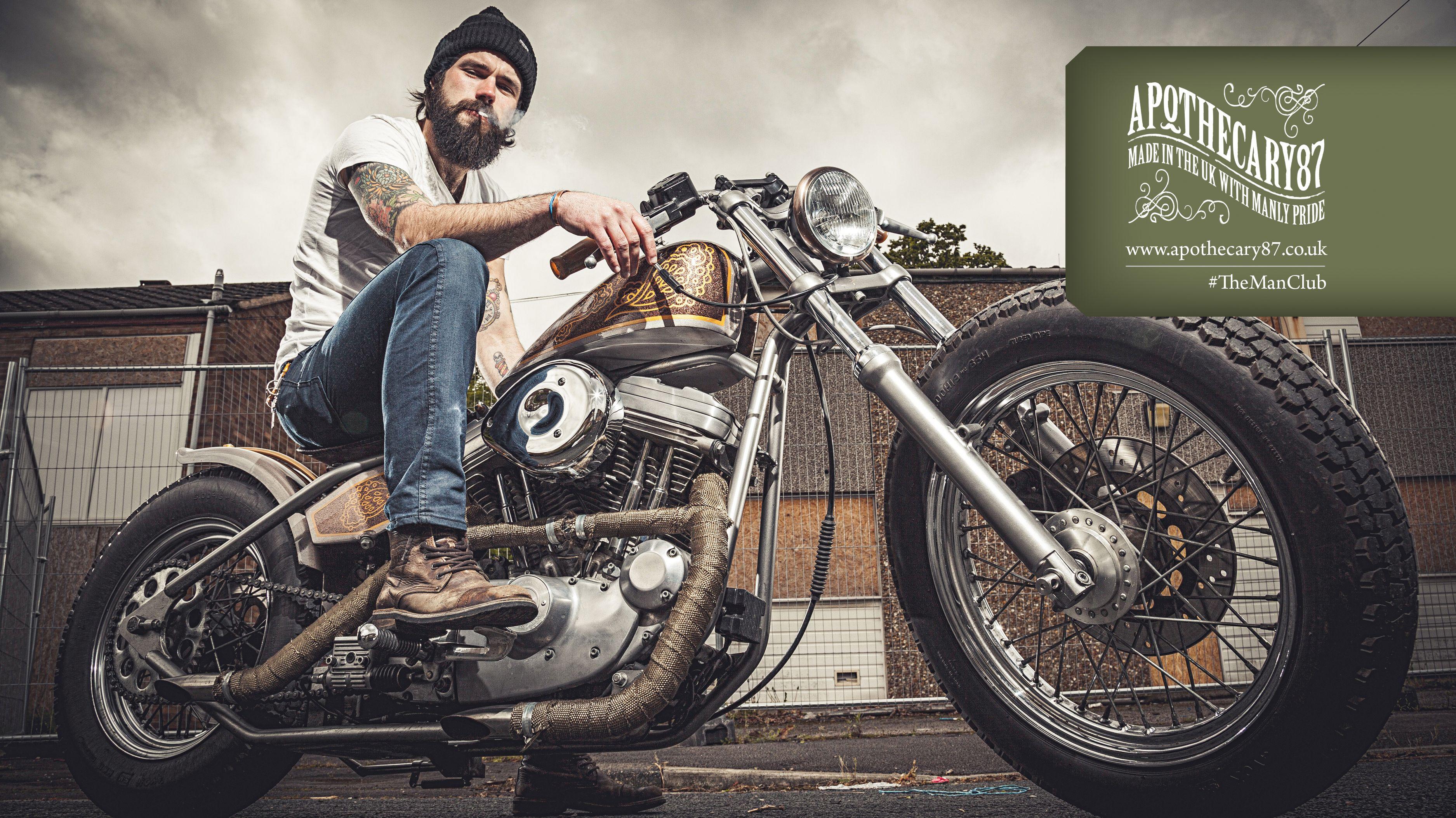 Apothecary87 Screen Saver Themanclub Beard Beard Oil Motorbike Harley Davidson Tattoos Men With Beards Man With Beard Facial Hair Moustach Erkek Modasi