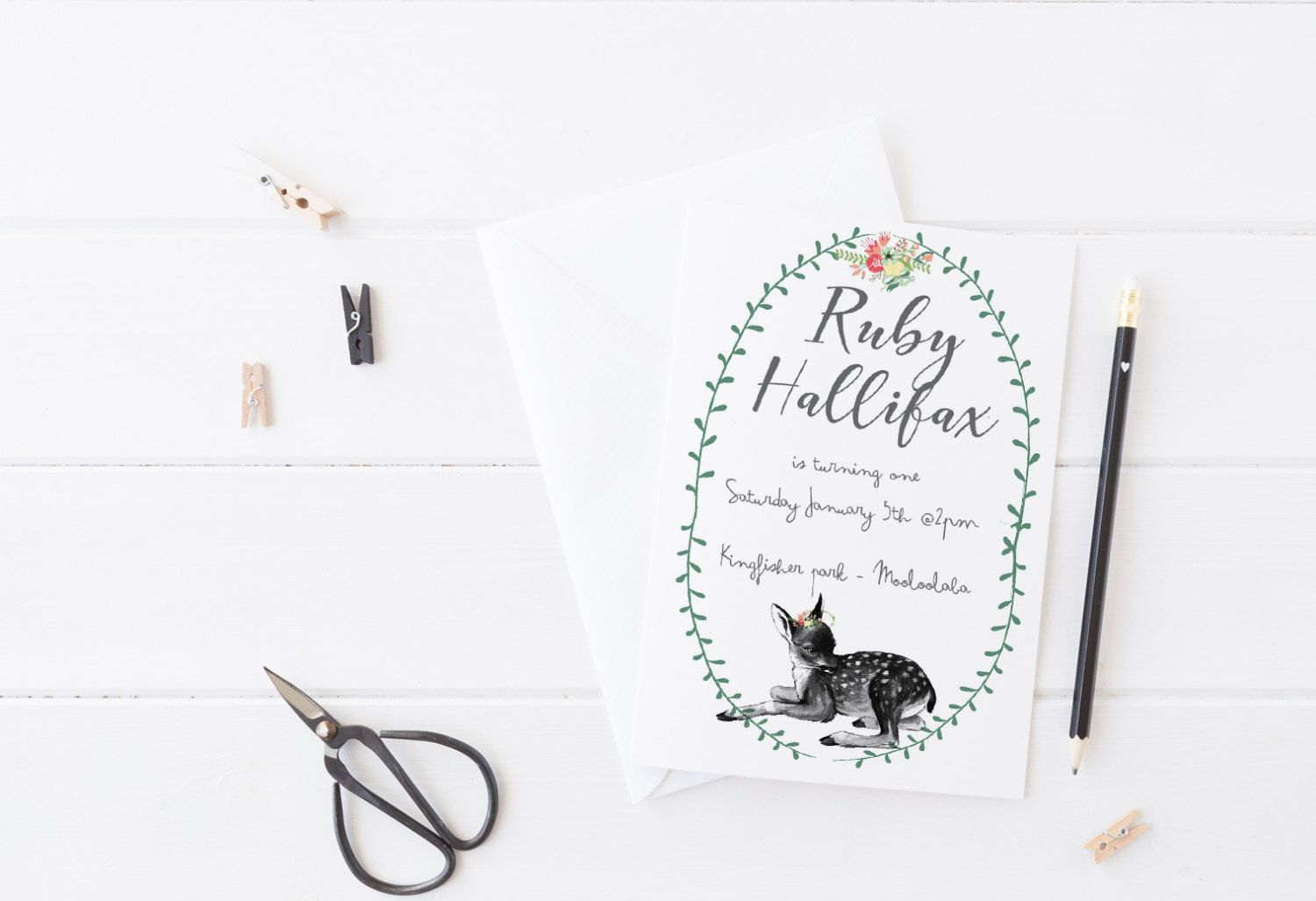 Sweet Event Invitation Featuring A Little Fawn With Floral Accents
