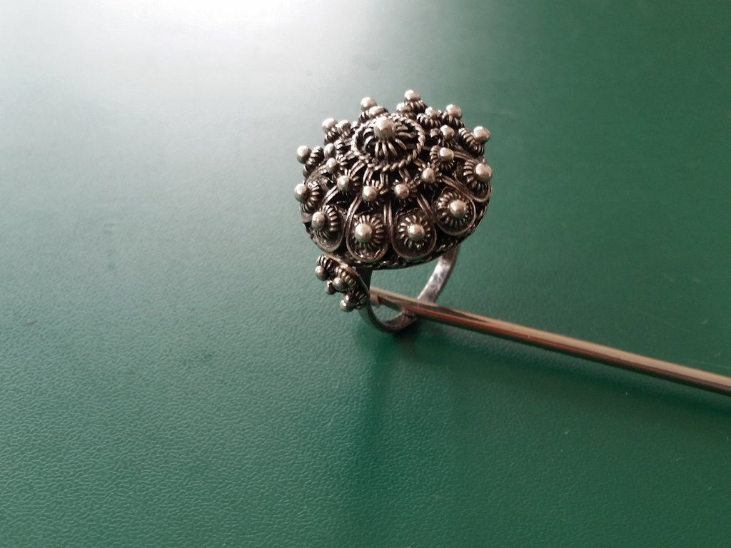 century ottoman jewelry antique filigree ring rings knitted silver pin hand