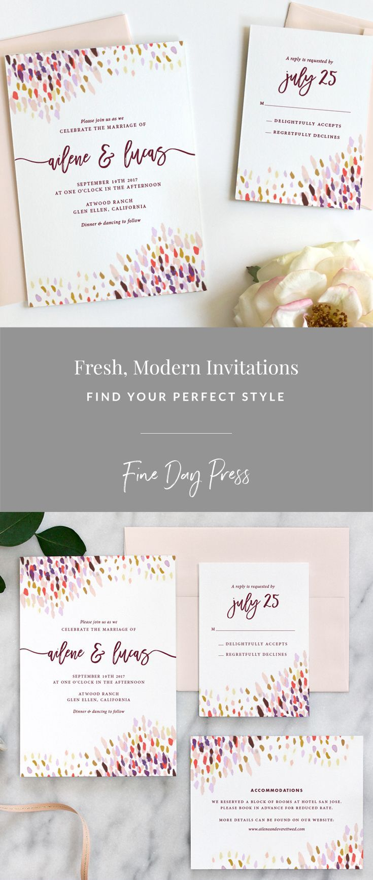Abstract Dot Wedding Invitations Plum Coral Wedding Wedding