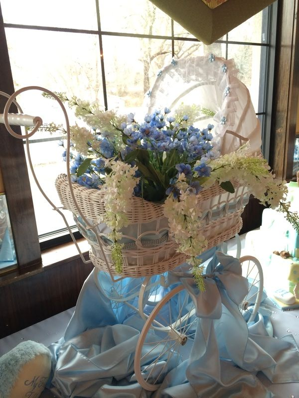 Blue Baby Carriage Centerpiece : Vintage baby carriage centerpiece ideas