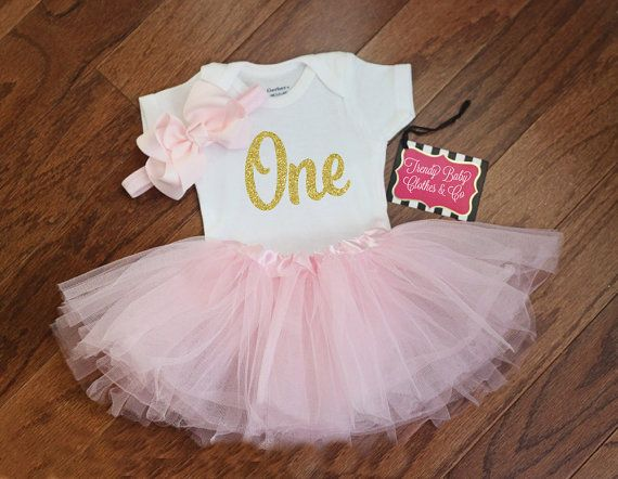 pink tutu Gold lettering first birthday onesie ballerina outfit