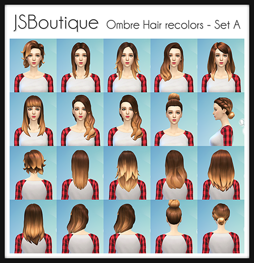My Sims 4 Blog Ombre Hair Recolors By Jsboutique My Sims 4 Blog