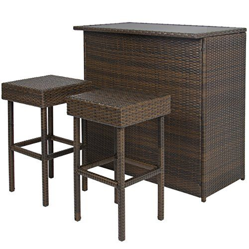 best choice products 3pc wicker bar set patio outdoor backyard