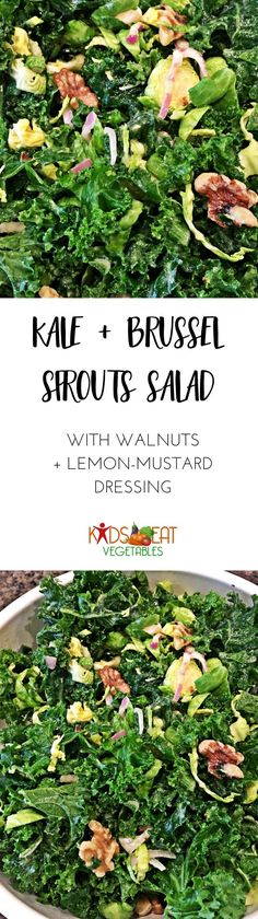 I�m pretty obsessed with healthy salads. I love them, and I�m rather proud of my Kale & Brussels Sprout Salad recipe. This one is made with lemon, olive oil, Dijon mustard, garlic and pepper. The acidic dressing actually helps break down the kale and spro