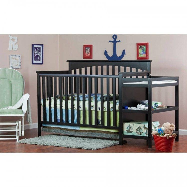 Baby Convertible Crib Set Changer 5 In 1 Nursery Toddler Bed Shelves