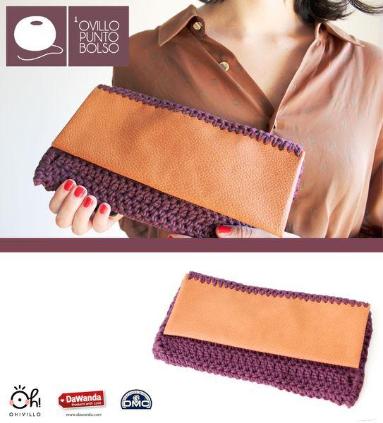 Manuales de ganchillo - Bolso de ganchillo con un ovillo Natura XL_MORADO - hecho a mano por ohvillo en DaWanda