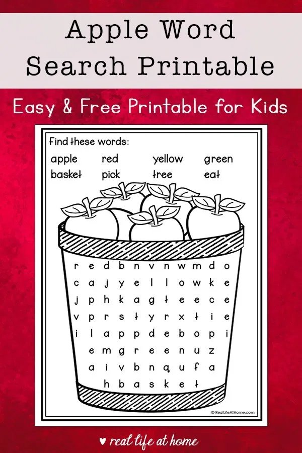 Apple Word Search Printable - Easy Word Find Puzzle for ...