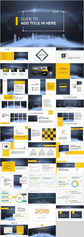 36 Blue Yellow Technology Report Powerpoint Template Pcslide Com Powerpoint Presentation Info Powerpoint Design Templates Powerpoint Templates Powerpoint