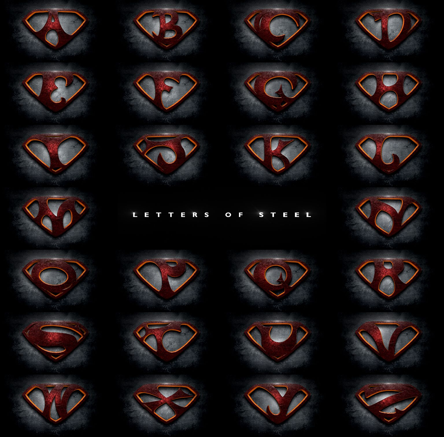 "Letters of Steel"" the alphabet in the style of the ""Man of Steel"