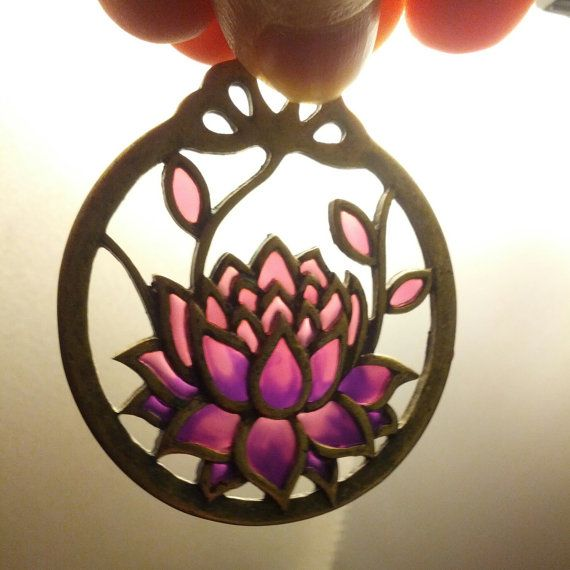 Beautiful Stained Glass Lotus Earrings by HipBiscuits on Etsy, $41.00