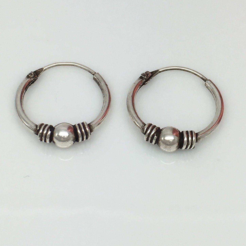 Silver Wire Hoop Earrings For Men, Thin Sterling Silver Hoop Earrings, 543a