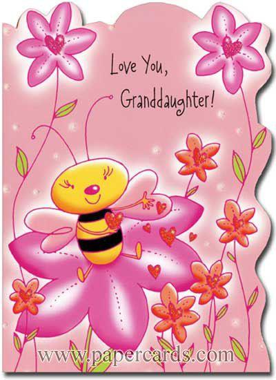 Bee Sits On Flower Granddaughter 1 Card 1 Envelope Valentine S Day Card Front Love You Granddaughter Inside Inside The V Valentines Cards Greetings