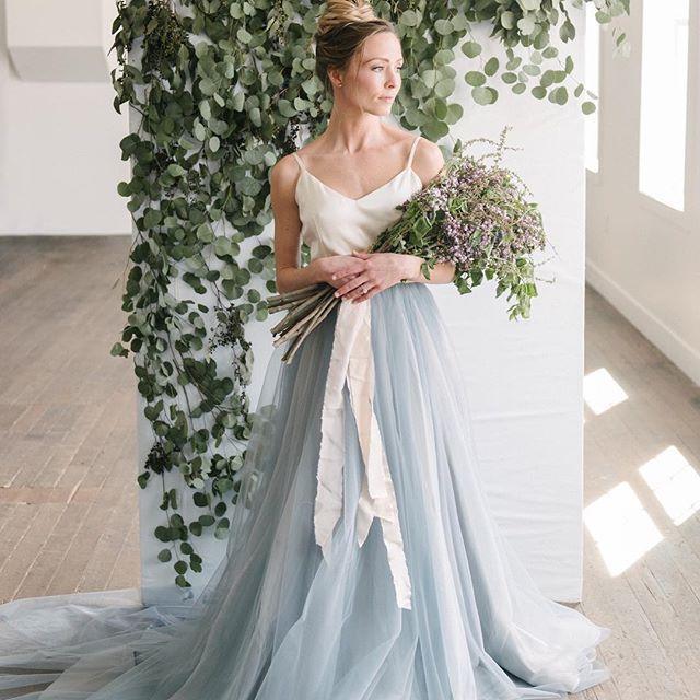 Chantel Lauren Wedding Dress With Blue Skirt From Emma And Grace Bridal Denver Colorado Bridal Shop Chantellauren Bride Emmaandgr With Images Blue Lace Wedding Dress