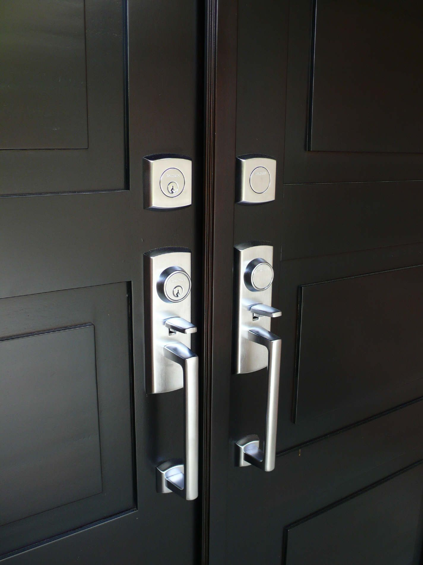 exterior black wooden double entry doors with double stainless