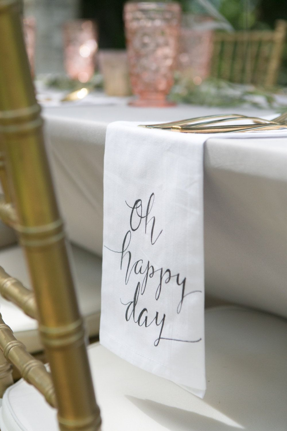 Custom Calligraphy Cotton Napkins Oh Hy Day Wording Of Your Choice Napkinswriting Stylesrehearsal