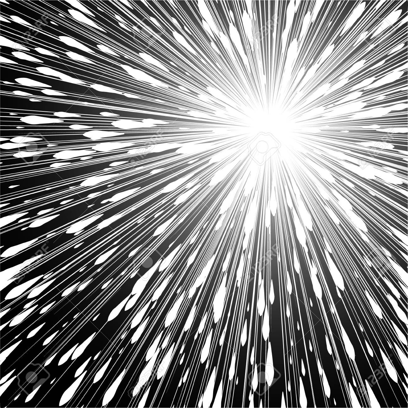 Light Rays Comic Book Black And White Radial Lines Background Rectangle Fight Stamp For Card Manga Or Anime Speed Grap Line Background Background Light Rays